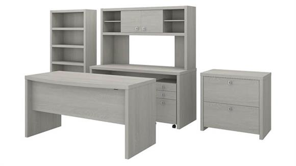 Executive Desks Bush Bow Front Desk, Credenza with Hutch, Bookcase and File Cabinets