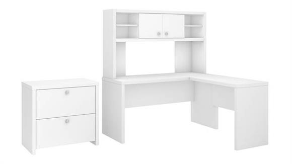 L Shaped Desks Bush L Shaped Desk with Hutch and Lateral File Cabinet