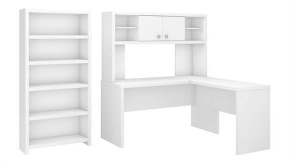 L Shaped Desks Bush L Shaped Desk with Hutch and 5 Shelf Bookcase
