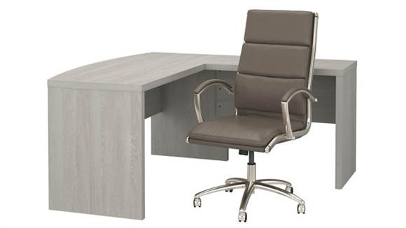 L Shaped Desks Bush L Shaped Bow Front Desk with High Back Chair