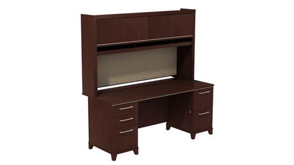 """Executive Desks Bush 72""""W x 30""""D Double Pedestal Desk with Hutch"""