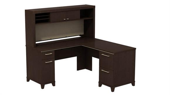 "L Shaped Desks Bush 60""W x 60""D L-Desk with Hutch"