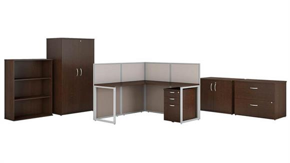 "L Shaped Desks Bush 60""W L Shaped Cubicle Desk with Storage and Filing Cabinets"