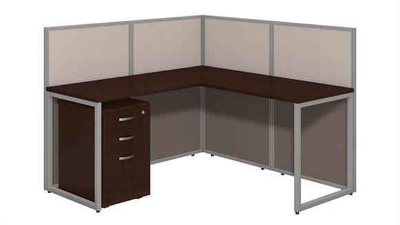"Workstations & Cubicles Bush 60""W L Desk Open Office with 3 Drawer Mobile Pedestal"