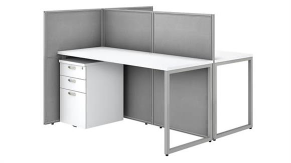 """Workstations & Cubicles Bush 60""""W 2 Person Straight Desk Open Office with 3 Drawer Mobile Pedestals and 45""""H Panels"""