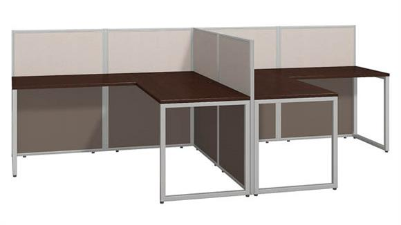 "Workstations & Cubicles Bush 60""W 2 Person L Desk Open Office"