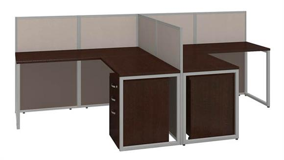 "Workstations & Cubicles Bush 60""W 2 Person L Desk Open Office with 3 Drawer Mobile Pedestals"