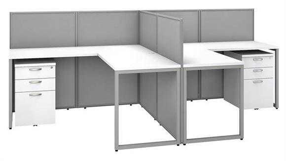 """Workstations & Cubicles Bush 60""""W 2 Person L-Desk Open Office with 2 - 3 Drawer Mobile Pedestals and 45""""H Panels"""