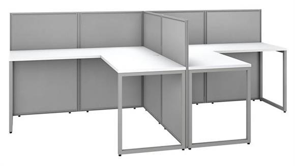"Workstations & Cubicles Bush 60""W 2 Person L-Desk Open Office with 45""H Panels"