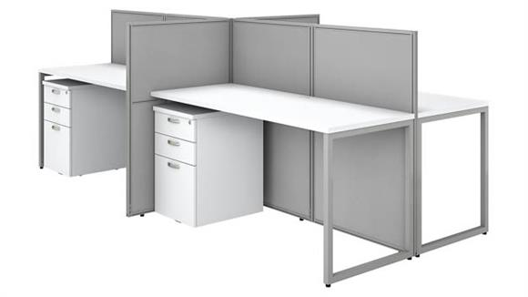"Workstations & Cubicles Bush 60""W 4 Person Open Cubicle Desk with 4 Mobile File Cabinets and 45""H Panels"