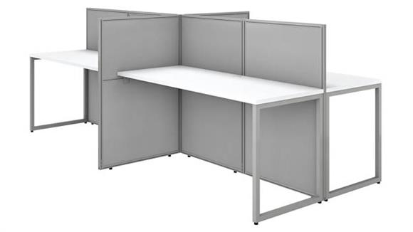 """Workstations & Cubicles Bush 60""""W 4 Person Straight Desk Open Office with 45""""H Panels"""