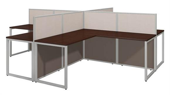 "Workstations & Cubicles Bush 60""W 4 Person L Desk Open Office"