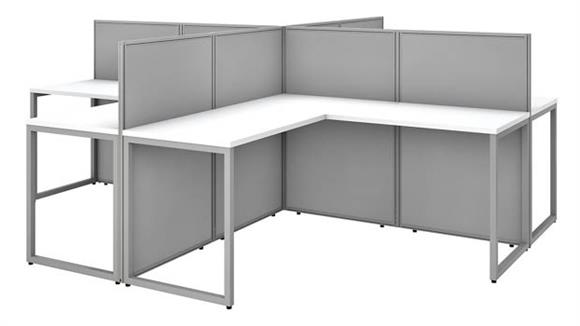 "Workstations & Cubicles Bush 60""W 4 Person L-Desk Open Office with 45""H Panels"
