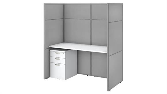 """Workstations & Cubicles Bush 60""""W Cubicle Desk with File Cabinet and 66""""H Closed Panels Workstation"""