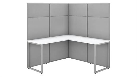 "Workstations & Cubicles Bush 60""W L-Shaped Cubicle Desk Workstation with 66""H Panels"