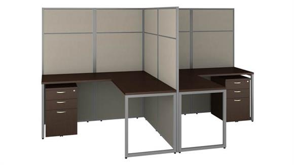 "Workstations & Cubicles Bush 60""W 2 Person L-Shaped Cubicle Desk with Drawers and 66""H Panels"