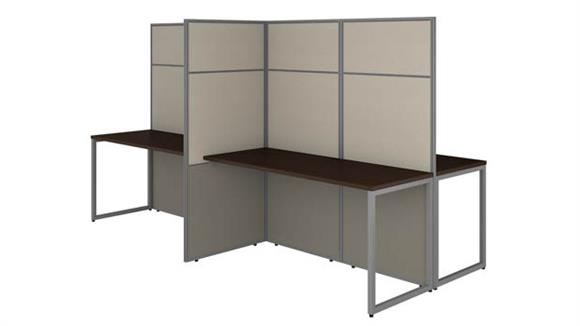 "Workstations & Cubicles Bush 60""W 4 Person Cubicle Desk Workstation with 66""H Panels"