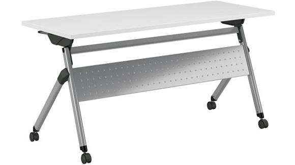 "Training Tables Bush 60""W x 24""D Folding Training Table with Wheels"