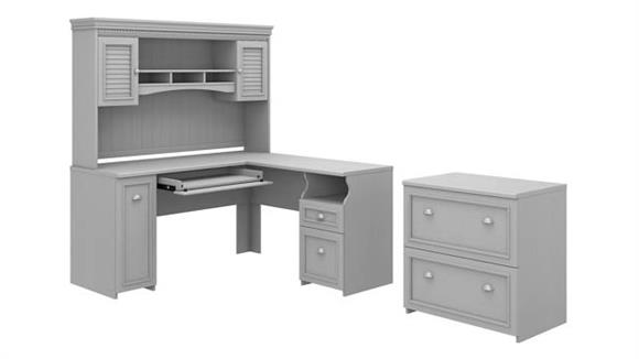 """L Shaped Desks Bush 60""""W L-Shaped Desk with Hutch and Lateral File Cabinet"""