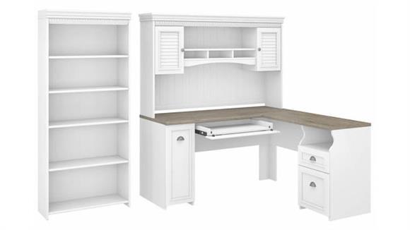 "L Shaped Desks Bush 60""W L-Shaped Desk with Hutch and 5 Shelf Bookcase"