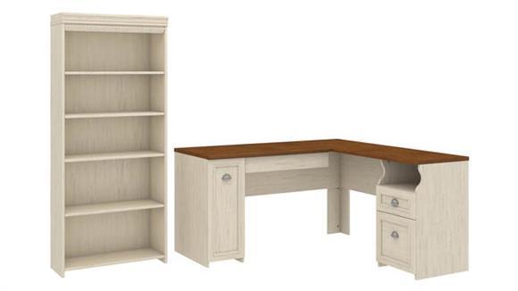 "L Shaped Desks Bush 60""W L-Shaped Desk with 5 Shelf Bookcase"