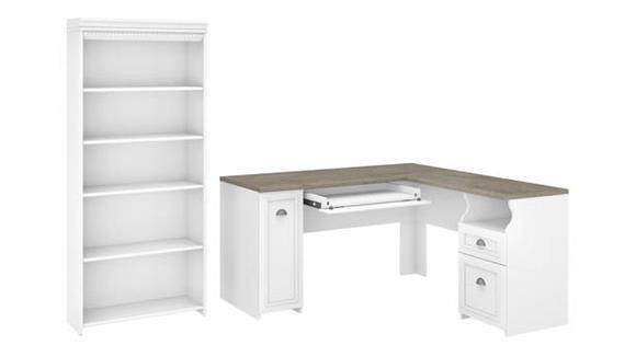 "L Shaped Desks Bush 60"" W L-Shaped Desk with 5 Shelf Bookcase"