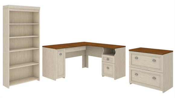 """L Shaped Desks Bush 60"""" W L-Shaped Desk with Lateral File Cabinet and 5 Shelf Bookcase"""