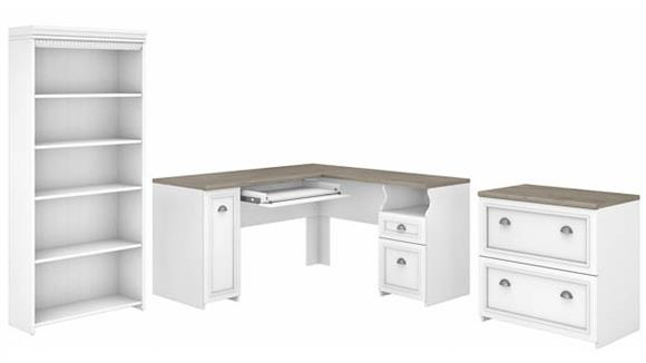 """L Shaped Desks Bush 60""""W L-Shaped Desk with Lateral File Cabinet and 5 Shelf Bookcase"""