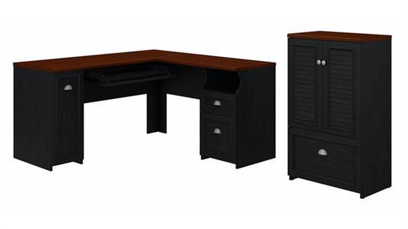 "L Shaped Desks Bush 60""W L-Shaped Desk and Storage Cabinet with File Drawer"