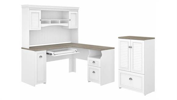 """L Shaped Desks Bush 60"""" W L-Shaped Desk with Hutch and Storage Cabinet with File Drawer"""