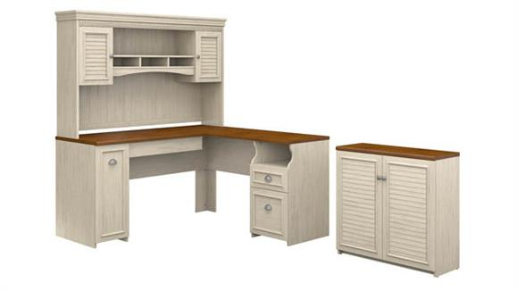 "L Shaped Desks Bush 60""W L Shaped Desk with Hutch and Small Storage Cabinet"
