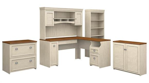 "L Shaped Desks Bush 60""W L Shaped Desk with Hutch, Storage Cabinets and 5 Shelf Bookcase"