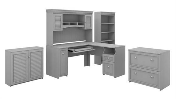 "L Shaped Desks Bush 60"" W L-Shaped Desk with Hutch, Lateral File Cabinet, Bookcase and Storage Cabinet"