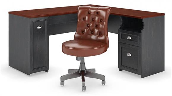 """L Shaped Desks Bush 60""""W L Shaped Desk with Mid Back Tufted Office Chair"""