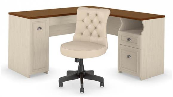 "L Shaped Desks Bush 60""W L Shaped Desk with Mid Back Tufted Office Chair"