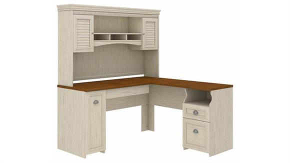L Shaped Desks Bush L-Shaped Desk with Hutch