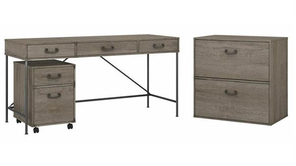"""Writing Desks Bush 60""""W Writing Desk with Mobile File Cabinet and Lateral File Cabinet"""