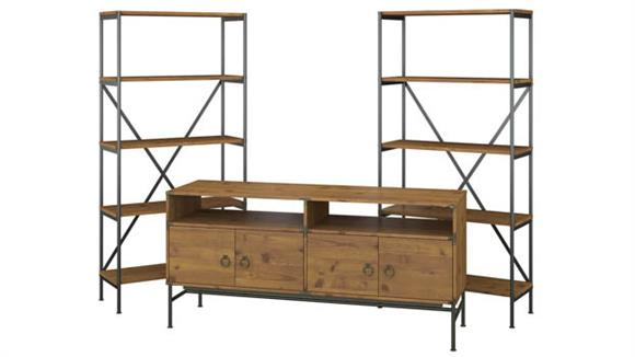 "TV Stands Bush 60""W TV Stand with Bookcases"