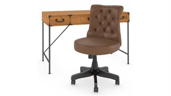 """Writing Desks Bush 48""""W Writing Desk with Mid Back Tufted Leather Office Chair"""