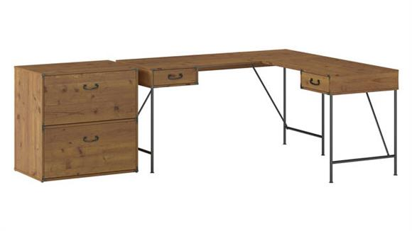 """L Shaped Desks Bush 60""""W L-Shaped Writing Desk with 2 Drawer Lateral File Cabinet"""