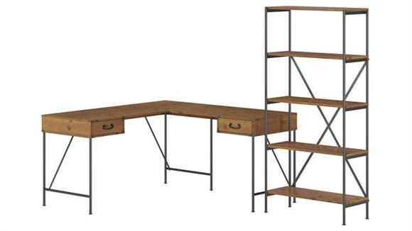 "L Shaped Desks Bush 60""W L-Shaped Writing Desk with 5 Shelf Etagere Bookcase"