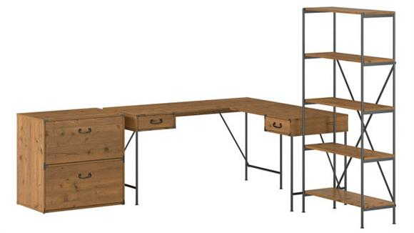 """L Shaped Desks Bush 60""""W L-Shaped Writing Desk with Lateral File Cabinet and 5 Shelf Bookcase"""