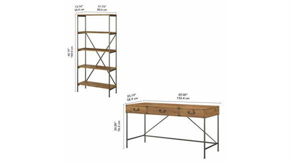 "Writing Desks Bush 60""W Writing Desk with Drawers and 5 Shelf Etagere Bookcase"