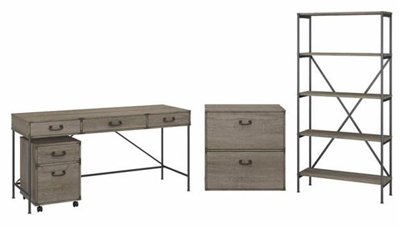 """Writing Desks Bush 60""""W Writing Desk with File Cabinets and 5 Shelf Etagere Bookcase"""
