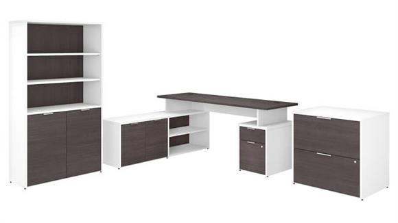 """L Shaped Desks Bush 72""""W L-Shaped Desk with Lateral File Cabinet and 5 Shelf Bookcase"""