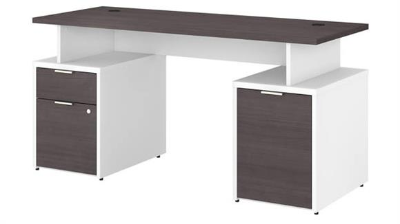 "Computer Desks Bush 60""W Desk with Drawers and Small Storage Cabinet"