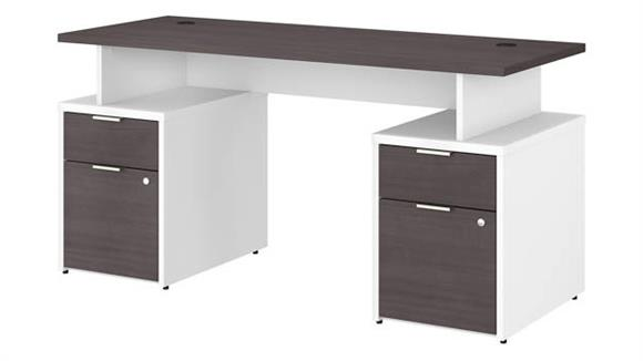 "Computer Desks Bush 60""W Desk with 4 Drawers"