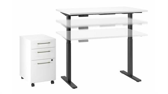 """Adjustable Height Desks & Tables Bush 48""""W x 24""""D Electric Height Adjustable Standing Desk with Mobile File Cabinet"""