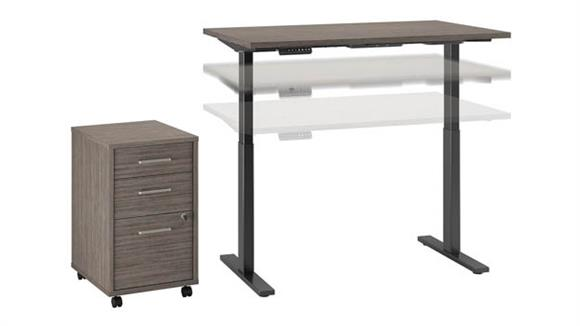 "Adjustable Height Desks & Tables Bush 48""W x 30""D Height Adjustable Standing Desk with Mobile File Cabinet"