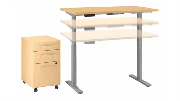 """Adjustable Height Desks & Tables Bush 48""""W x 30""""D Electric Height Adjustable Standing Desk with Mobile File Cabinet"""